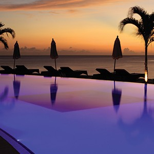 Buccament Bay - pool sunset2