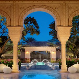Luxury Dubai Holiday Packages One&Only The Palm Hotel Entrance At Night
