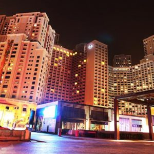 Luxury Dubai Holidays Amwaj Rotana Hotel Exterior At Night