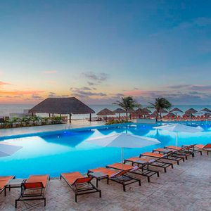 Luxury Mexico Holiday Packages Moon Palace Cancun Mexico Weddings Pool At Sunset