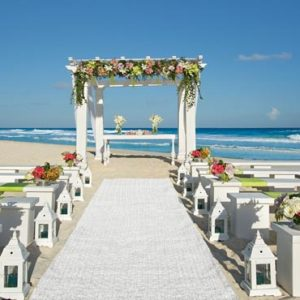 Luxury Mexico Holiday Packages Secrets The Vine Cancun White Green Beach Wedding Setup