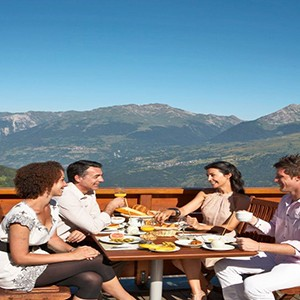 Peisey Vallandry Club Med - france holiday - dinner at restaurant outside