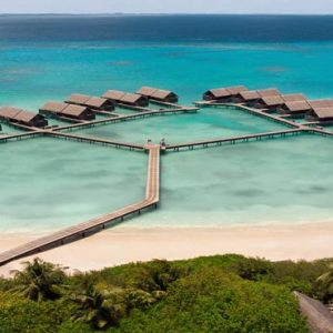 Luxury Maldives Holiday Packages Shangri La's Villingili Resort And Spa Aerial View Of Water Villas