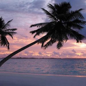 Luxury Maldives Holiday Packages Shangri La's Villingili Resort And Spa Sunset View From The Resort's Main Beach