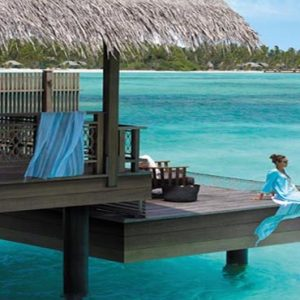 Luxury Maldives Holiday Packages Shangri La's Villingili Resort And Spa Women On Deck At Water Villa