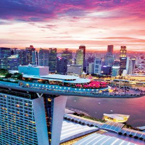 Marina Bay Sands Luxury Sinagpore Holiday Packages Aerial View At Sunset