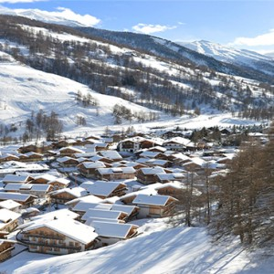 Pragelato Vialetta - Luxury Italy Holiday Packages - aerial view in snow