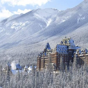 exterior snow - Fairmont Banff Springs - luxury Canada Holiday Packages