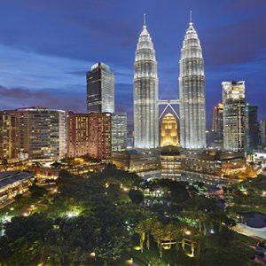 luxury Malaysia holiday Packages Mandarin Oriental Kuala Lumpur Petrona Twin Towers At Night