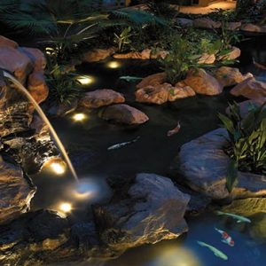 Shangri La Singapore Luxury Singapore Honeymoon Packages Garden Wing Atrium Waterfall And Koi Pond By Night
