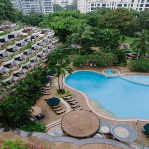 Shangri La Singapore Luxury Singapore Honeymoon Packages Aerial View Of Pool