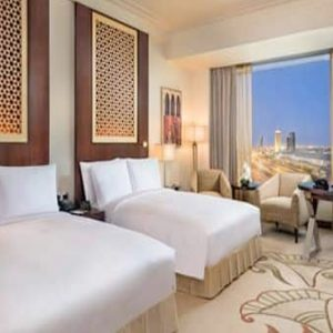 Luxury Dubai Holiday Packages Conrad Dubai Two Double Bed Deluxe Room Skyline View