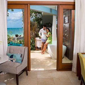 Beach Weddings Abroad Sandals Negril Caribbean Beachfront Walkout Grande Luxe Club Level Room W Patio Tranquility Soaking Tub 5