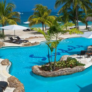 Sandals Negril Jamaica Honeymoon Crystal Lagoon Honeymoon Beachfront Penthouse One Bedroom Butler Suite Beach Pool