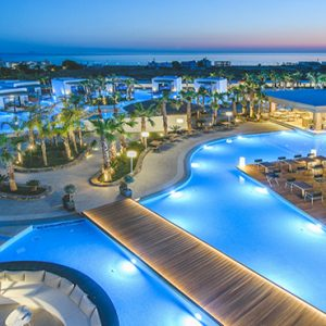 Luxury Greece Holiday Packages Stella Island Crete Hotel Aerial View At Night