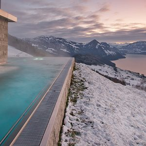 Luxury Switzerland Holiday Packages Hotel Villa Honegg Outdoor Pool At Winter