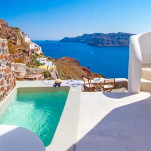 Luxury Greece Holiday Packages Oia Mare Villas Cave Suite With Hot Tub Hot Tub View