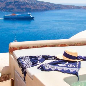 Luxury Greece Holiday Packages Oia Mare Villas Cave Suite With Hot Tub Hot Tub View 2