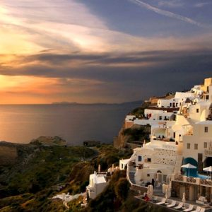 Luxury Greece Holiday Packages Oia Mare Villas Gallery Exterior Sunset