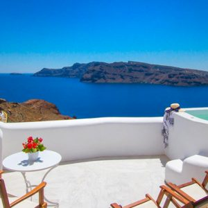 Luxury Greece Holiday Packages Oia Mare Villas Honeymoon Cave Suite With Hot Tub Balcony View