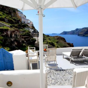 Luxury Greece Holiday Packages Oia Mare Villas Two Bedroom Cave Suite Balcony View