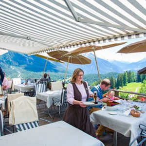 Luxury Switzerland Holiday Packages Guarda Val Sun Terraces Restaurant