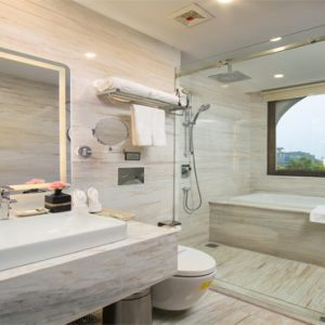 Luxury Vietnam Holiday Packages The Oriental Jade Hotel Ruby City View Room Bathroom