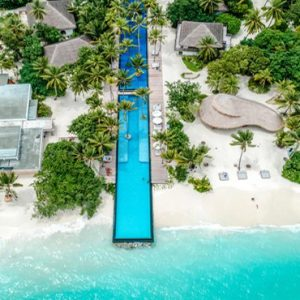 Luxury Maldives Holidays Fairmont Maldives Sirru Fen Fushi Aerial View Of Pool And Resort