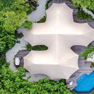 Luxury Maldives Holidays Fairmont Maldives Sirru Fen Fushi Tents Villa Aerial View