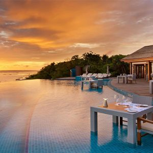Luxury Maldives Holidays Hideaway Beach Resort Sunset Pool Cafe Exterior