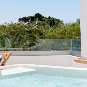 Club Jr. Suite Outdoor Heated Jacuzzi Seafront View St Nicolas Bay Resort Hotel & Villas Greece Holidays